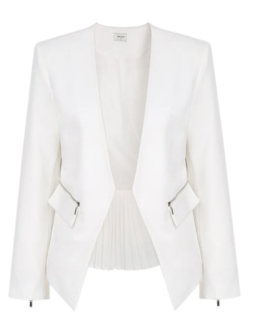 White Zipper Contrast Pleated Hem Crop Blazer