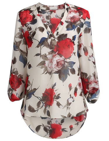 Apricot Long Sleeve Floral Print Blouse