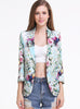 Green Notch Lapel Long Sleeve Floral Print Jacket