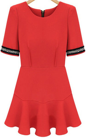 Red Puff Sleeve Ruffle Slim Dress
