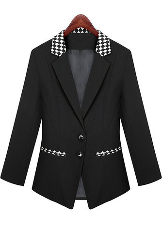 Black Contrast Plaid Lapel Fitted Blazer