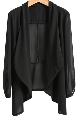 Black Long Sleeve Loose Chiffon Blouse