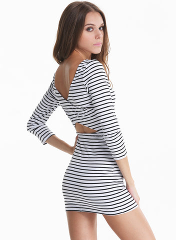 Black Long Sleeve Striped Cut Out Back Dress