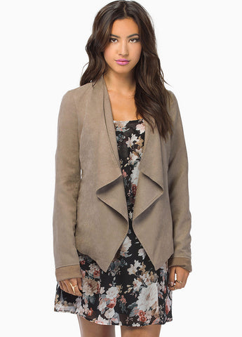 Khaki Long Sleeve Draped Front Jacket