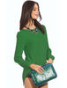 Green Long Sleeve Zip Split Back Blouse
