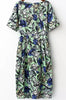 Green Short Sleeve Floral Pockets Dress
