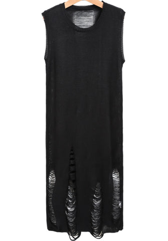 Black Sleeveless Hollow Ripped Knit Dress