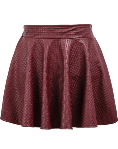 Red Elastic Waist Plaid Pleated Leather Skirt