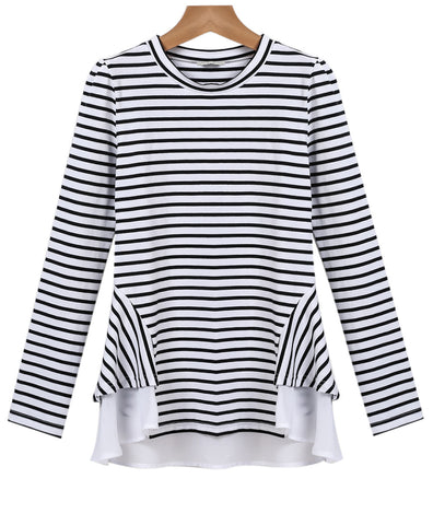 Black White Striped Long Sleeve Ruffle T-shirt