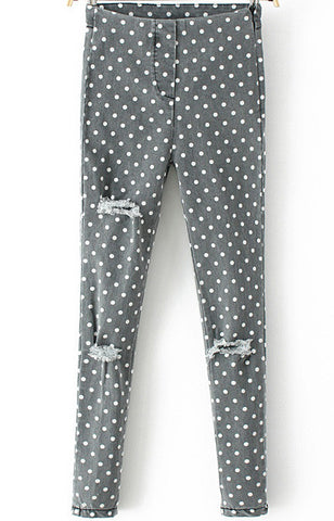 Grey Polka Dot Ripped Slim Denim Pant