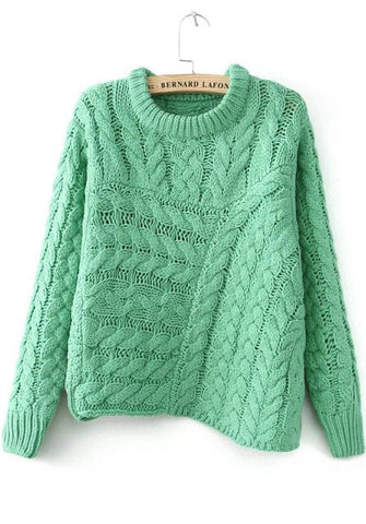 Green Long Sleeve Asymmetrical Cable Knit Sweater