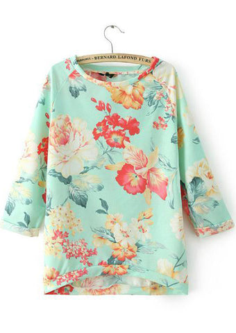 Green Round Neck Floral Loose Sweatshirt