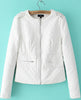White Long Sleeve Rivet Epaulet PU Leather Jacket