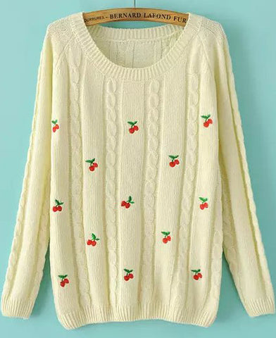 Beige Long Sleeve Embroidered Cable Knit Sweater