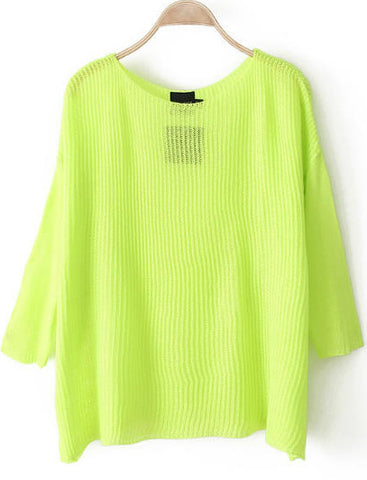 Neon Green Long Sleeve Loose Knit Sweater