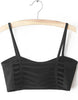 Black Spaghetti Strap Hollow Crop Vest