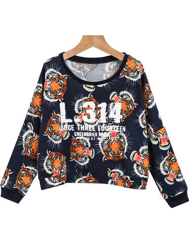 Navy Long Sleeve Tiger Letters Print Top