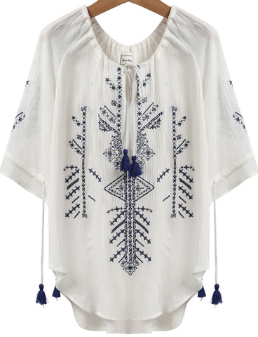 White Short Sleeve Embroidered Tassel Loose Blouse