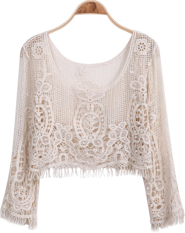 Apricot Long Sleeve Embroidered Lace Blouse