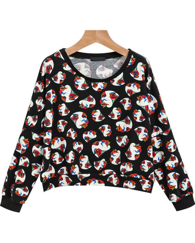 Black Long Sleeve Masks Print Crop Blouse