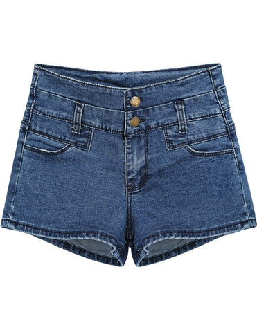 Blue High Waist Buttons Denim Shorts