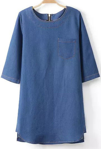 Blue Half Sleeve Pocket Denim Loose Dress