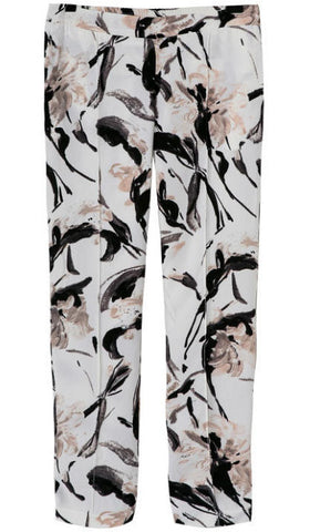 White Pockets Floral Slim Pant
