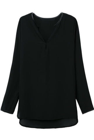 Black Long Sleeve Loose Dipped Hem Blouse