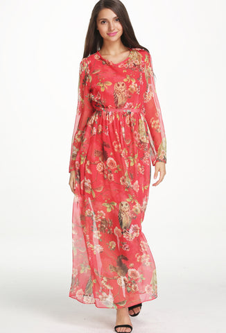 Red Long Sleeve Floral Owl Print Maxi Dress