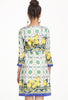 White Round Neck Vintage Floral Slim Dress