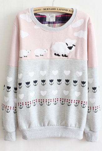 Pink Long Sleeve Cartoon Print Loose Sweatshirt