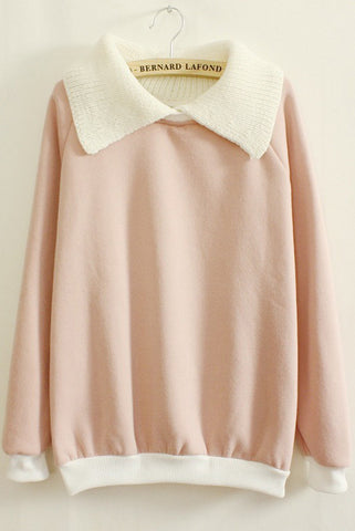 Pink Long Sleeve Contrast Lapel Loose Sweatshirt
