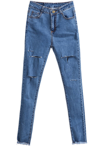 Blue Slim Cut Ripped Denim Pant