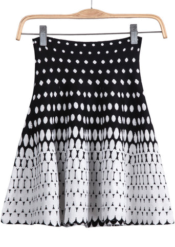 White Polka Dot Knit Skirt