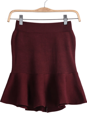 Wine Red Zipper Knit Ruffle Skirt