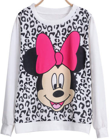 White Long Sleeve Leopard Mickey Print Sweatshirt