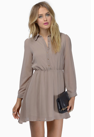 Khaki Long Sleeve Lapel Shift Dress