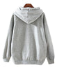 Grey Long Sleeve Hooded Deer Print Sweatshirt