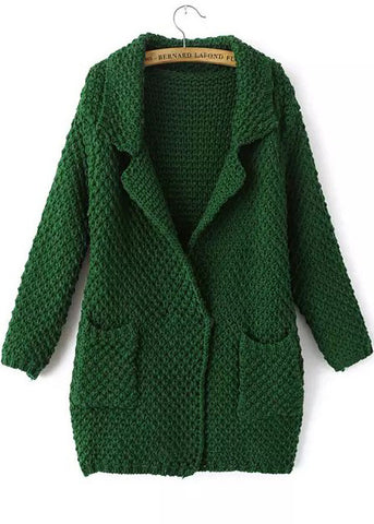 Green Lapel Long Sleeve Pockets Knit Cardigan