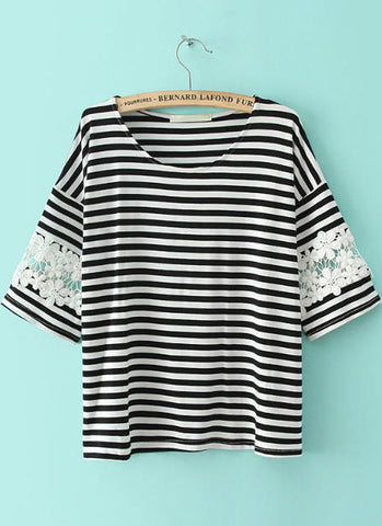 Black White Striped Lace Loose T-Shirt