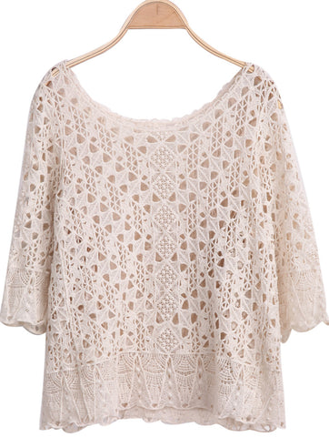 Apricot Scoop Neck Crochet Hollow Loose Top