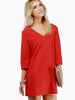 Red Three Quarter Length Sleeve V-neck Shift Dress