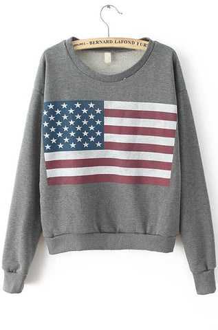 Dark Grey Long Sleeve Flag Print Sweatshirt