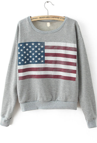 Light Grey Long Sleeve Flag Print Sweatshirt
