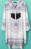 White Long Sleeve Tribal Embroidery Blouse