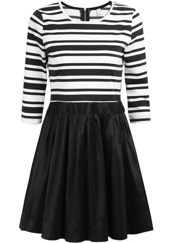 Black and White Striped Half Sleeve Flare Dress