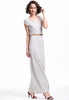 Grey Scoop Neck Short Sleeve Slim Maxi Dress