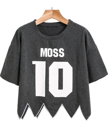 Dark Grey Short Sleeve MOSS 10 Print Crop T-Shirt