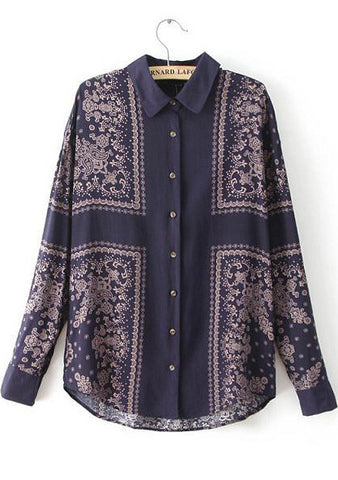 Navy Lapel Long Sleeve Vintage Floral Blouse