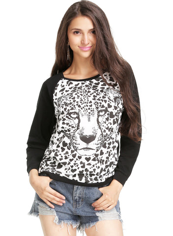 Black Long Sleeve Leopard Print Sweatshirt